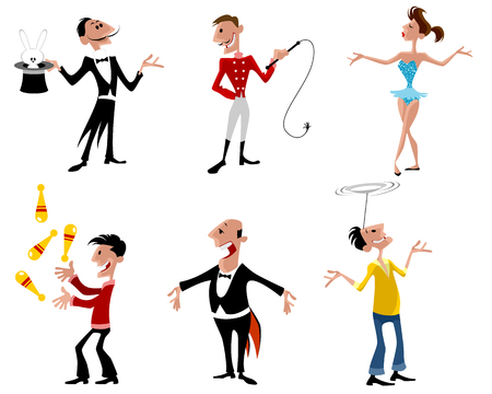 Vector illustration of a six circus artist