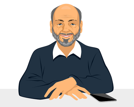 Vector illustration of a old man smiling