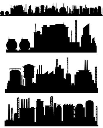 construction companies: Vector illustration of a three factories silhouettes