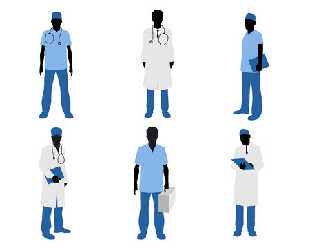 cardiologist: Vector illustration  of a six doctors silhouettes on white