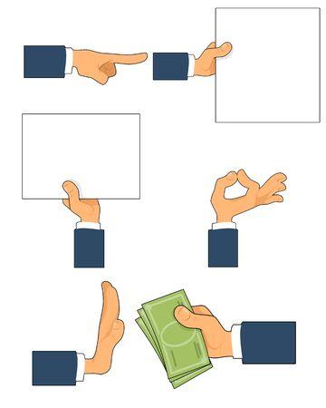 Vector illustration of a six gestures set