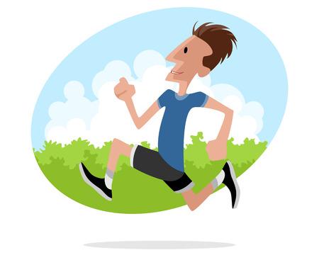 runs: illustration image of a young man runs Illustration
