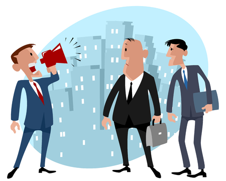 embarrassment: illustration image of a three businessmen in the city
