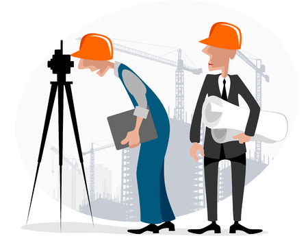 leveling: illustration image of a surveyor and engineer