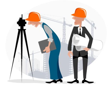 topógrafo: ilustración imagen de un topógrafo e ingeniero