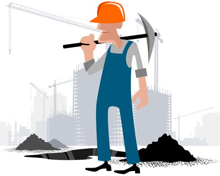 digger: illustration image of a digger with a pick Illustration