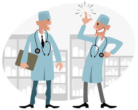 talking: illustration of a two pharmacists talking