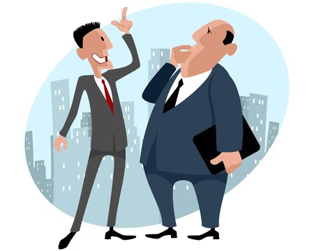 discussing: Vector illustration of a two businessmen talking Illustration