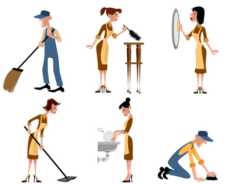 cleaning crew: Vector illustration of a domestic staff set