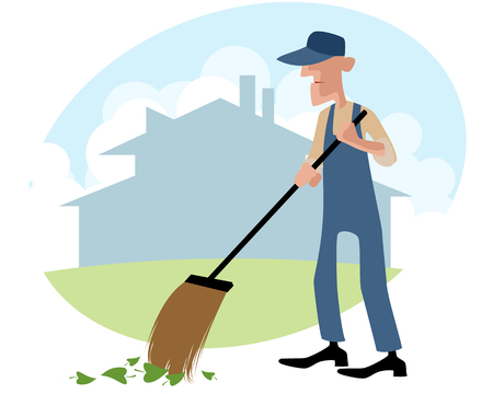 janitor: Vector illustration of a janitor sweeping the yard