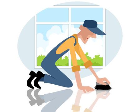 wiping: Vector illustration of a man rubbing the floor Illustration