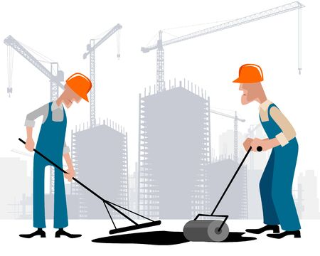 Vector illustration of a two road workers