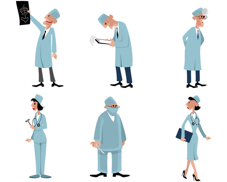 malleus: Vector illustration of a six doctors set