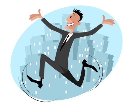 runs: illustration of a funny businessman runs