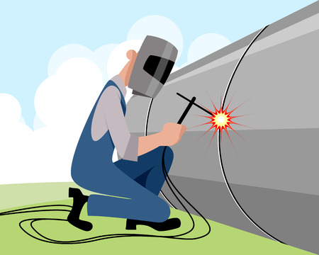welds: illustration of a welder welds pipe