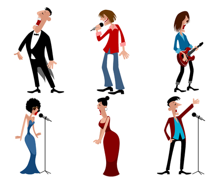the vocalist: illustration of a six person of artists Illustration