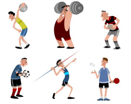discus: illustration image of a six athletes set