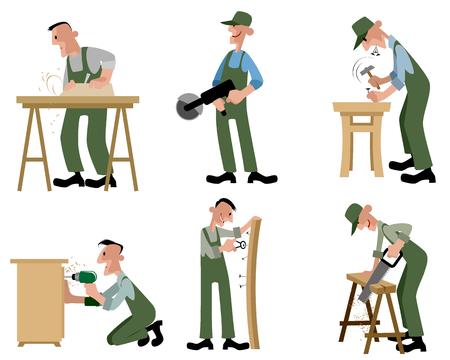 carpenter's bench: illustration of a woodwork professionals set Illustration