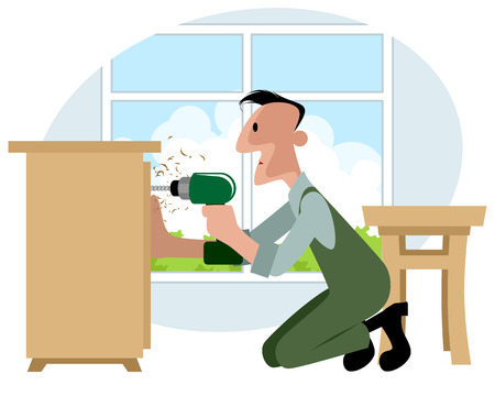 collector: illustration of a furniture collector with screwdriver Illustration