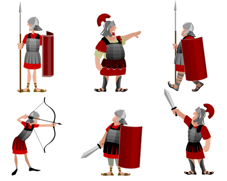 illustration of a six roman warriors