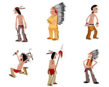 iroquois: illustration of a six indians set