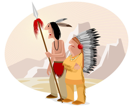 sioux: illustration of a indian and chief