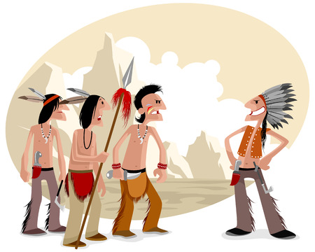 apache: illustration of a four indians in prairie Illustration