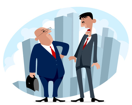 business trip: illustration of a two businessmen in business trip