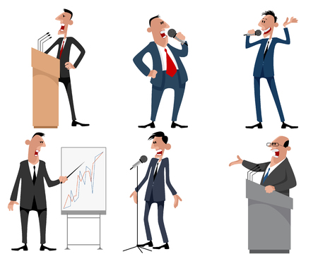 orator: Vector illustration of a six speakers set