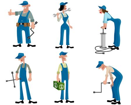fixing: illustration of a car mechanics set