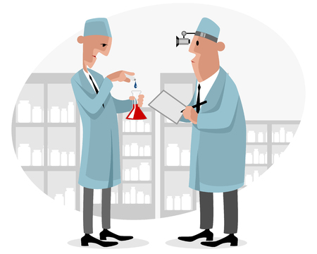 illustration of a two doctors in lab