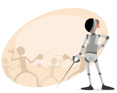esgrimista: ilustración de un tirador con el estoque