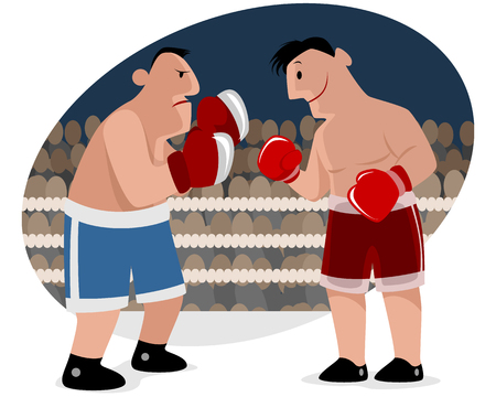 illustration of a two boxers at ring