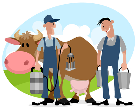 Vector illustration of farmers with cow