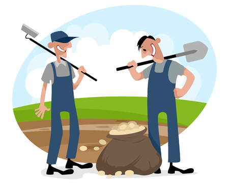 Vector illustration of a two farmers on field Illustration