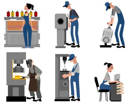 Ilustración de un seis trabajadores con máquinas