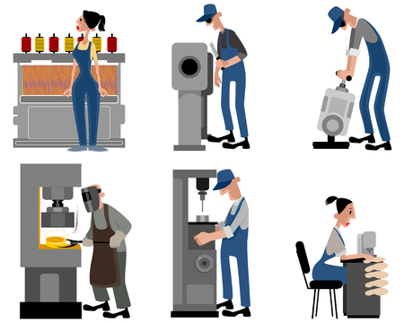 sander: Vector illustration of a six workers with machines