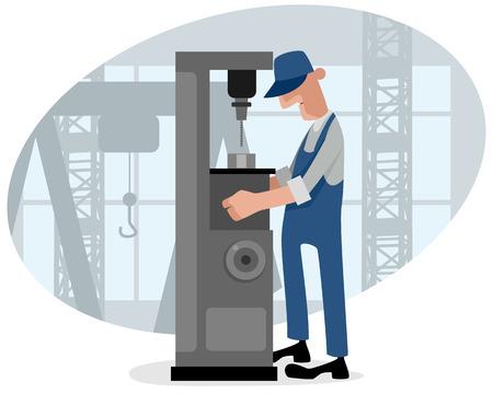 Vector illustration d'une machine de forage et turner