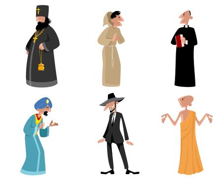 sadhu: Vector illustration of a six religious figures Illustration