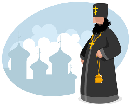 Vector illustration of a orthodox priest with censer