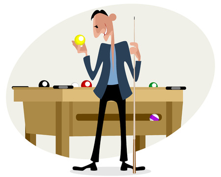 cue sticks: Vector illustration of a billiard player with cue Illustration