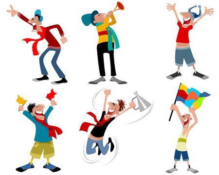 Vector illustration of a six football fans Stock Illustratie