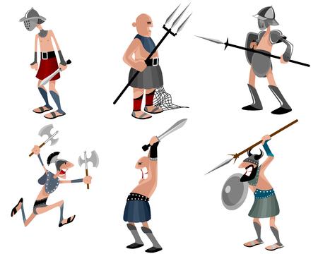 Vector illustration of a six gladiators set Vettoriali