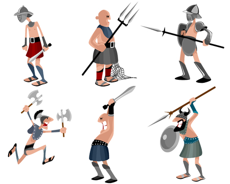 Vector illustration of a six gladiators set Illustration