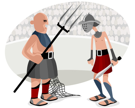 gladiatorial: Vector illustration of a gladiatorial battles in the arena