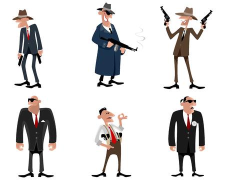 Vector illustration of a six gangsters set Illustration