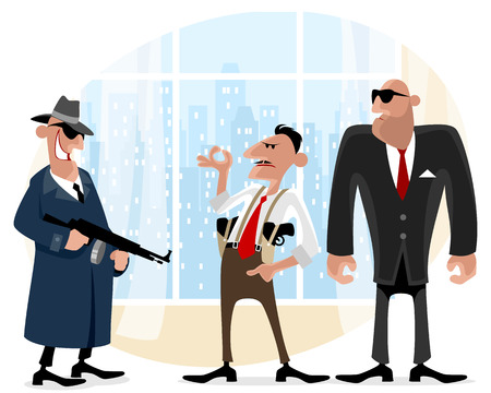 Vector illustration of a three cool gangsters