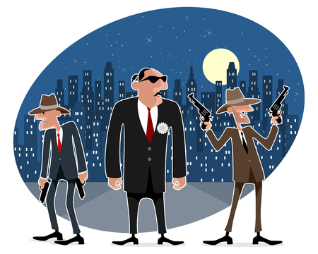 cosa: Vector illustration of a three funny gangsters