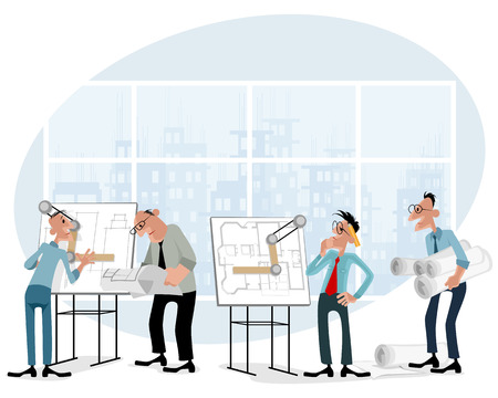 draftsman: Vector illustration of a architects in office