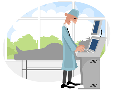 Vector illustration of a doctor with ultrasonography apparatus Illustration